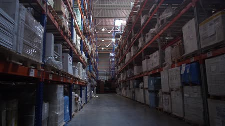 партия : Panorama of the logistics warehouse. The passage of the camera along the high rows with the goods. 4K Slow Mo Стоковые видеозаписи