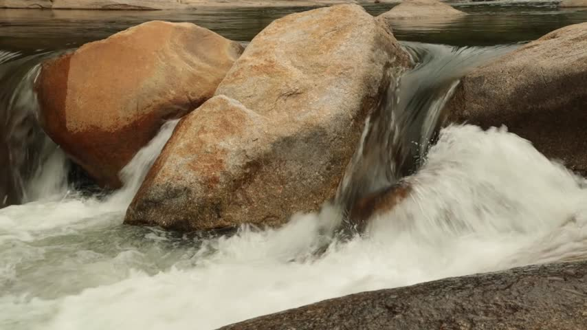 boulders : High definition panning action rugged mountain river waterfalls panoramic scene, with rushing white water cascading around large pebbles, boulders. Stock footage HD video clip.