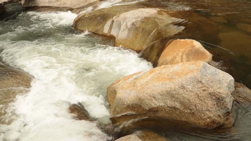 camera panning : Mountain river high definition panning action scenery with cascading waterfalls and large sandstone pebbles, boulders, stock footage video clip. Stock Footage