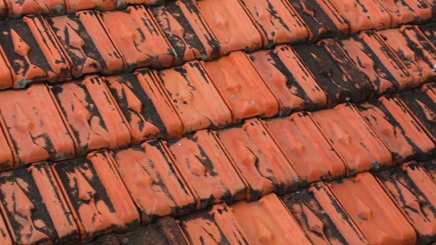 camera panning : Red rooftop baked clay tiles old and weathered panning camera high definition stock footage clip. Stock Footage