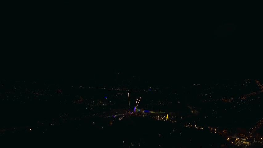 firework display : big and beautiful firework aerial shot