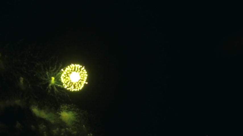 glow pyrotechnics : big and beautiful firework aerial shot