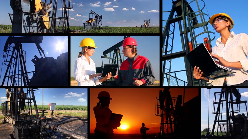 gas : Female engineer and oil man working together in an oilfield, teamwork multiscreen