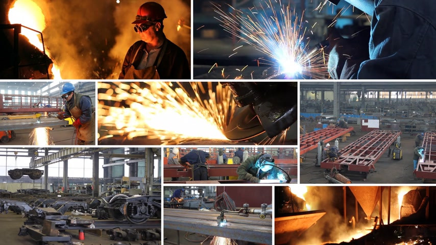 spawanie : Metal industry multiscreen, welder, steel mill, grinding, cutting steel, foundry Wideo