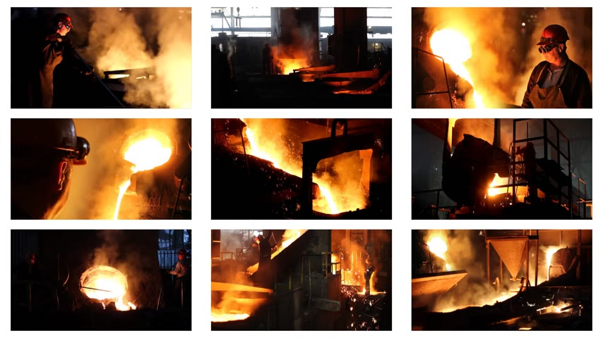 медь : Hard work in the foundry, workers controlling iron smelting in furnaces, too hot and smoky working environment, split screen