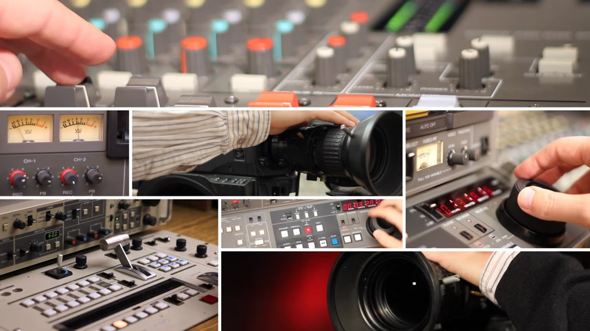 broadcast video : Television equipment, cameraman and editor at work, camera, editing, directing, studio, video mixer, audio mixer. Collage Stock Footage
