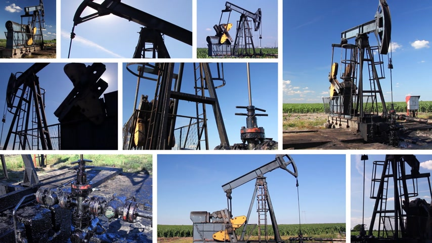 conventional : Oil Pump Jack in a field, montage split screen