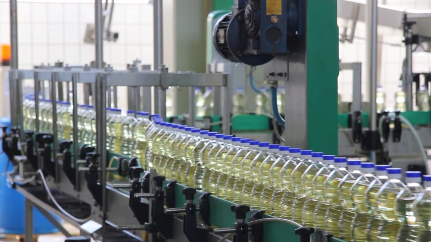 zöldségek : Sunflower oil in the bottle moving on production line in a factory Stock mozgókép