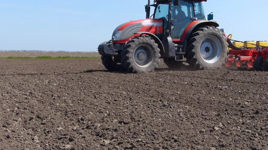 kukorica : Tractor planting seeds