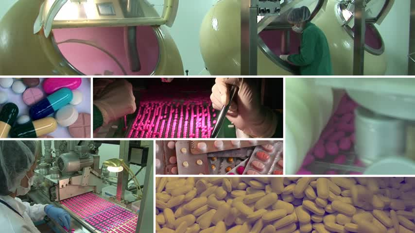 pilulka : Drug Factory, several different video shots montage multiscreen