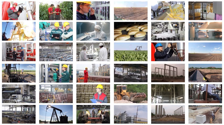kolaj : People working in a factory, construction, agriculture, steel mill, foundry, power plant, food industry, bakery, sunflower oil, blacksmith shop, control room, sugar factory, chicken farm, oil industry, bottling plant, welder, timelapse multiscreen