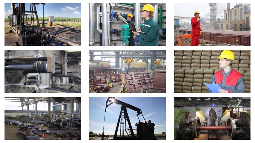helmets : Industrial production, welder, metal industry, sugar factory, processing of corn, liquid detergent, bottling, quarry, oil pump, construction, grinding, production of rubber. Split screen, several different footages in collage, timelapse