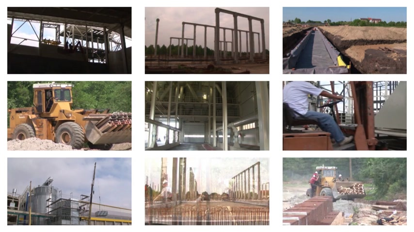 edificio construccion : Construcción del complejo industrial, multipantalla Archivo de Video