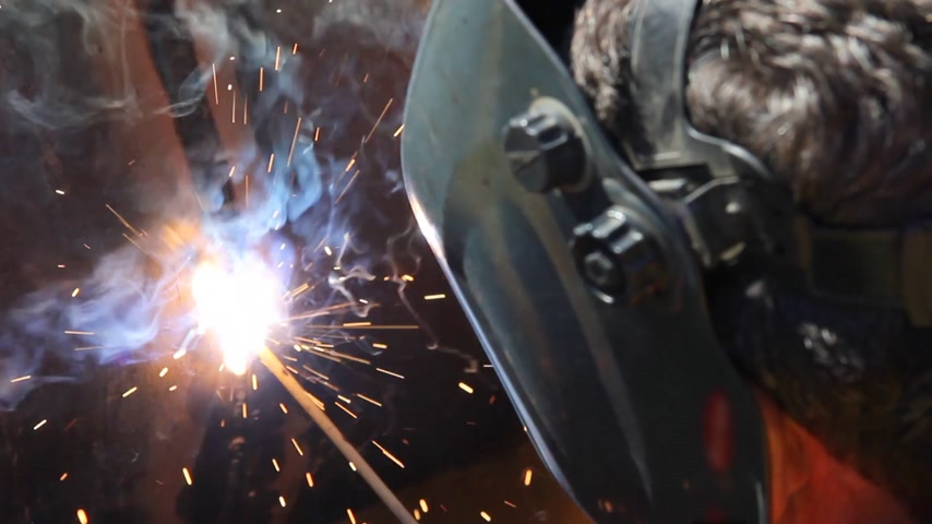 metal worker : Welder at work, arc welding