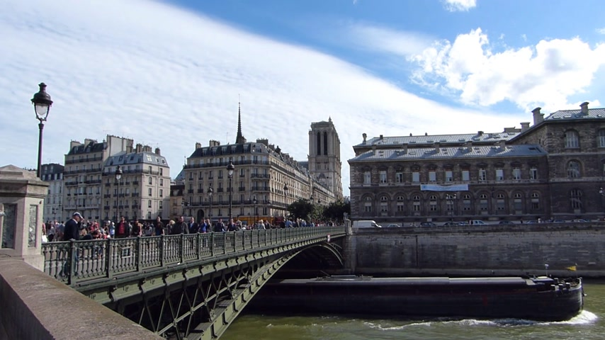 cristianity : River Seine cruise. Building in a background is Notre Dame Cathedral in Paris, France