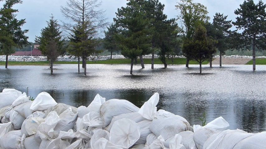 levee : Defense of the flooded river, in the foreground is a levee of sandbags