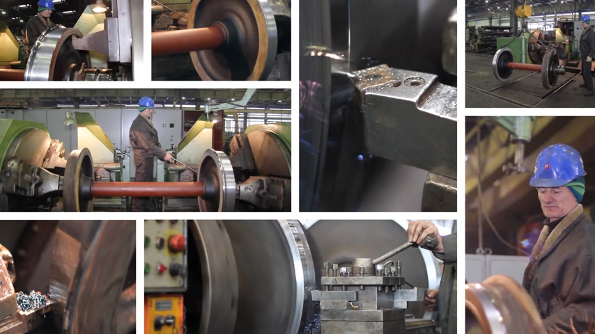 metal worker : Worker on a machine, metalworking on lathe in a factory, montage. Machining process in the factory for repair of trains and wagons Stock Footage