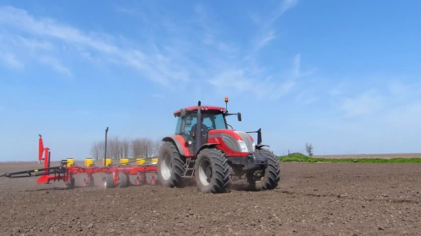 farm equipment : Tractor and Seeder Planting Crops, two video clips