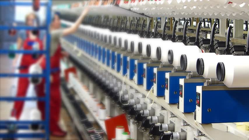 sentetik : Production of synthetic fibers in the textile industry, women working in factory