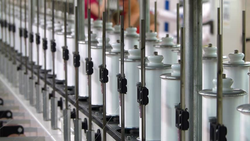 üretim : Production of synthetic fibers in the textile industry, women working in factory