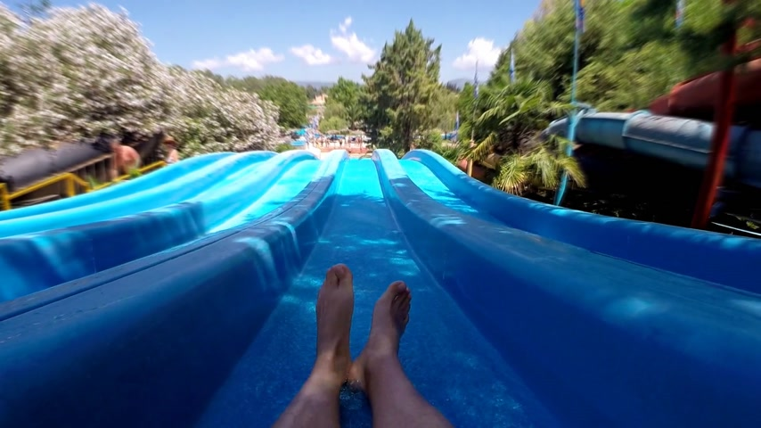 slayt : Enjoyment on the water slide, slow motion