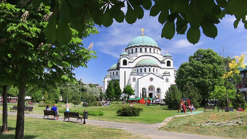 sérvia : Temple of Saint Sava in Belgrade  Serbia the largest Orthodox church in the Balkans Vídeos