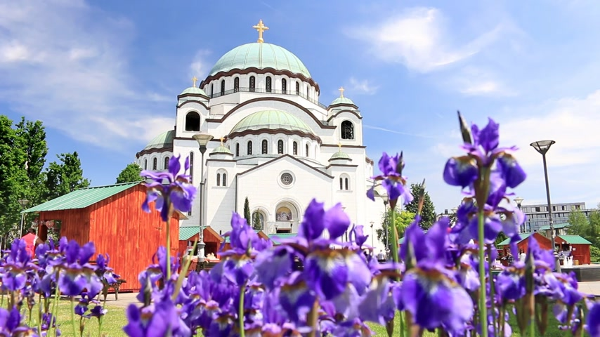 sérvia : Temple of Saint Sava and beautiful flowers in Belgrade  Serbia the largest Orthodox church in the Balkans