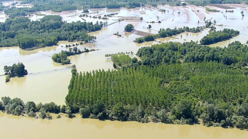 imha : Aerial view of flooding river Sava in Serbia