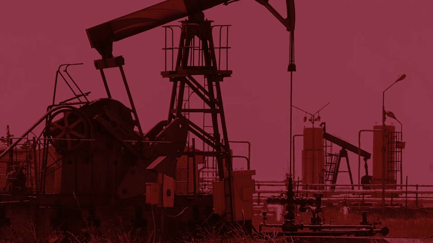 exploration : Oil pump jack in a field. Oil reserves are near the end, flashing red light as a warning for the fuel reserve Stock Footage