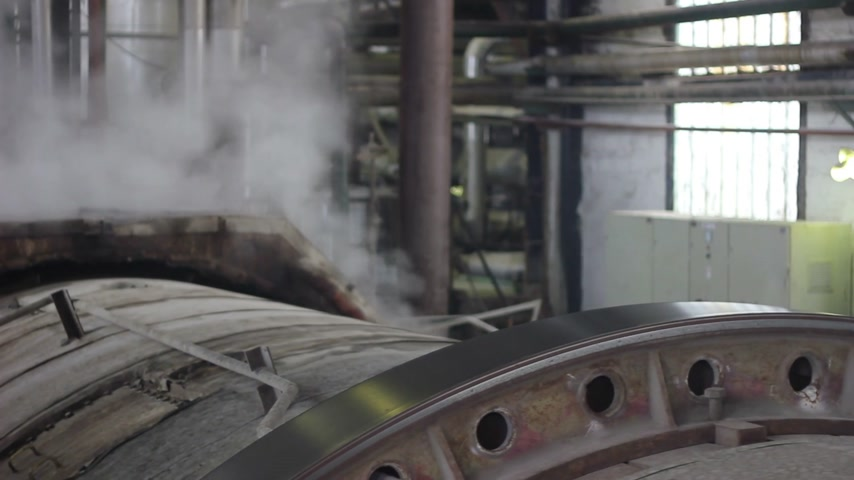 building heat : Steam in industrial plant, inside the factory for sugar production, two video footages