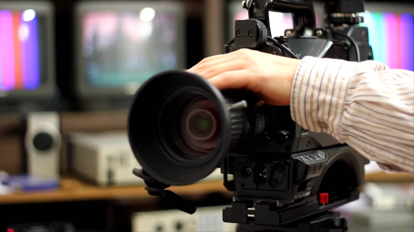 direto : Professional shooting with a Camera, Betacam Sp in studio Stock Footage
