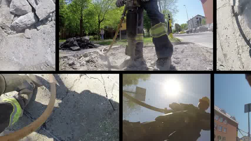zbourán : Roadworks construction workers using a jackhammer to break pavement and concrete, split screen