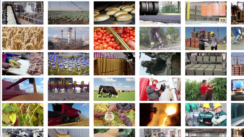 demirci : Video wall montage industrial production. People working in a factory, construction, agriculture, steel mill, foundry, power plant, food industry, bakery, sunflower oil, blacksmith shop, control room, sugar factory, chicken farm, oil industry, bottling pl