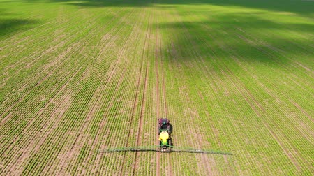 herbicides : Aerial view of crops sprayed with pesticides, Drone shot flying over agricultural field tractor and sprayer, protection from disease in order to increase yield Stock Footage