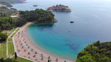 st stephen : Aerial view of St Stephen Island. Flying over Adriatic sea, sunny day. Aerial drone shot, St Stephen Island in Montenegro