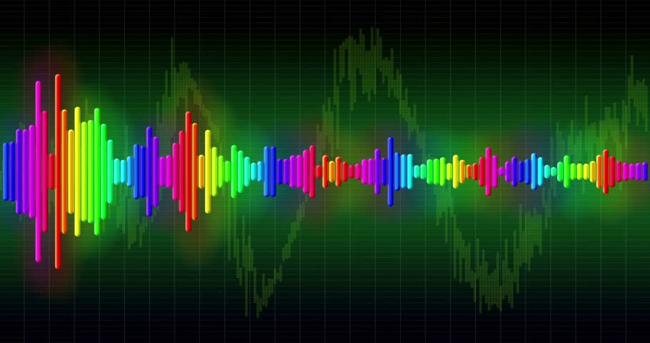 цветной : Audio spectrum simulation, high-tech waveform