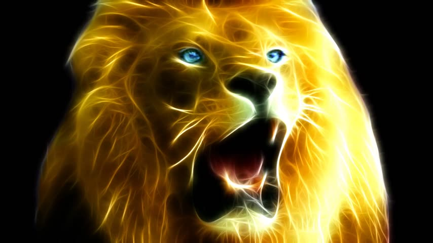 pinturas : Fractal Rendering - big lion roaring, with glowing blue-green eyes on black background.  Realistic, high resolution video.  1080p HD Stock Footage