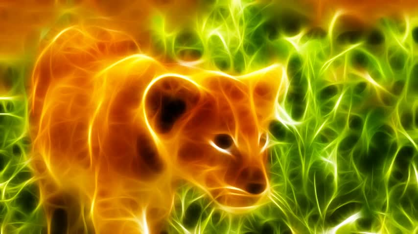pinturas : Fractal rendering - Little lion walking in nature environment  Realistic and high resolution animation  1080p HD