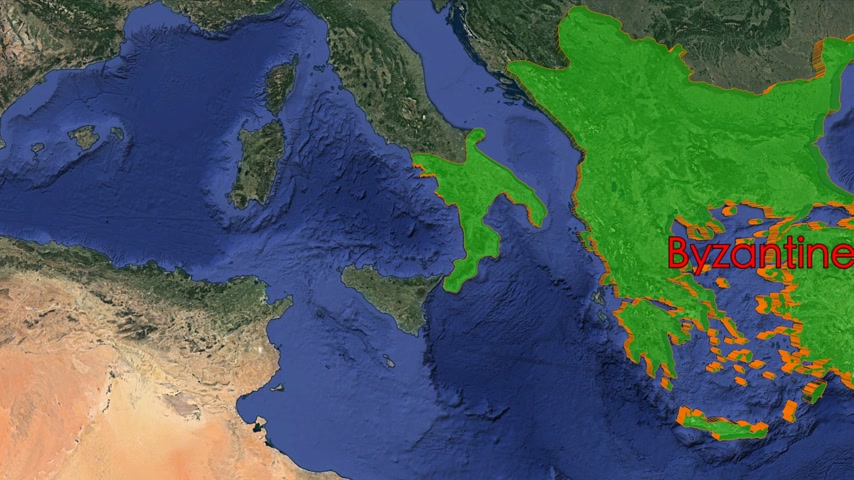 conquest : Byzantine Empire boundaries. Imperial on 3D rotating old historic world map. Gigantic christian crusader state in middle age. Historical border mapping animation conquest