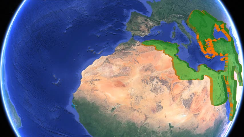 simulace : Ottoman Empire boundaries. Imperial on 3D rotating old historic world map. North Africa, Balkans Anatolia, Middle East and Arab geography. Gigantic Turkish islamic empire state in middle age. Moving animation conquest graph chart age Turkey country.
