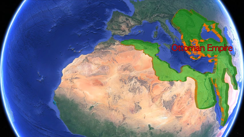 conquest : Ottoman Empire boundaries. Imperial on 3D rotating old historic world map. North Africa, Balkans Anatolia, Middle East and Arab geography. Gigantic Turkish islamic empire state in middle age. Moving animation conquest graph chart age Turkey country.