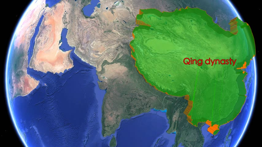 conquest : Great Qing dynasty boundaries. Imperial on 3D rotating old historic world map. Inner Asia empire geography. Moving animation conquest graph chart old age China Manchuria Manchu cart historical atlas. Stock Footage