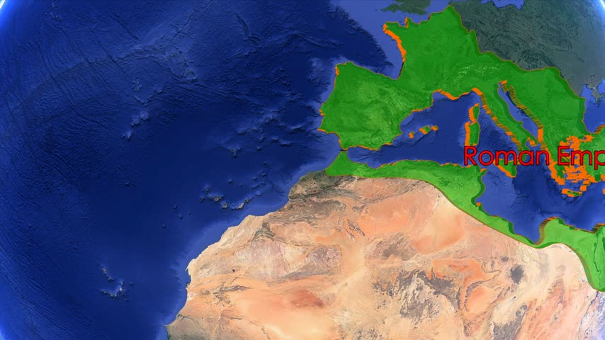 imperatore : Roman Empire boundaries. Imperial on 3D rotating old historic world map. Gigantic christian crusader state in middle age. Historical mapping border moving animation. Filmati Stock