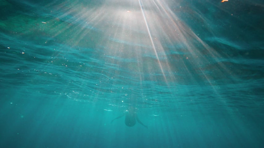 szmaragd : Redhead girl in a black neoprene suit splashes and swims underwater. Sun rays in clear emerald water. Spray and sun glare on the sea sand bottom. Swimming in open water. Beautiful underwater landscape