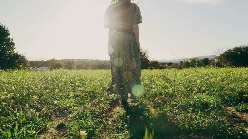 grass flowers : Girl in green dress walks walks through the fields fool of blooming yellow flowers. Long hair woman walks around the beautiful countryside. Golden light in idyllic landscape. Peace and tranquility.