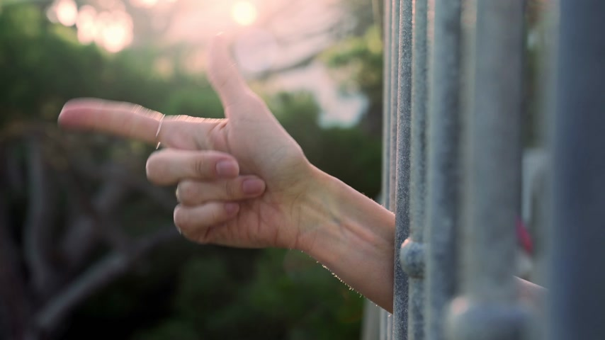 Hand shows various gestures. Different emotions with gestures. A hand peeks out from behind the bars and shows a welcome, hello and like sign. Counting from one to five. Wideo