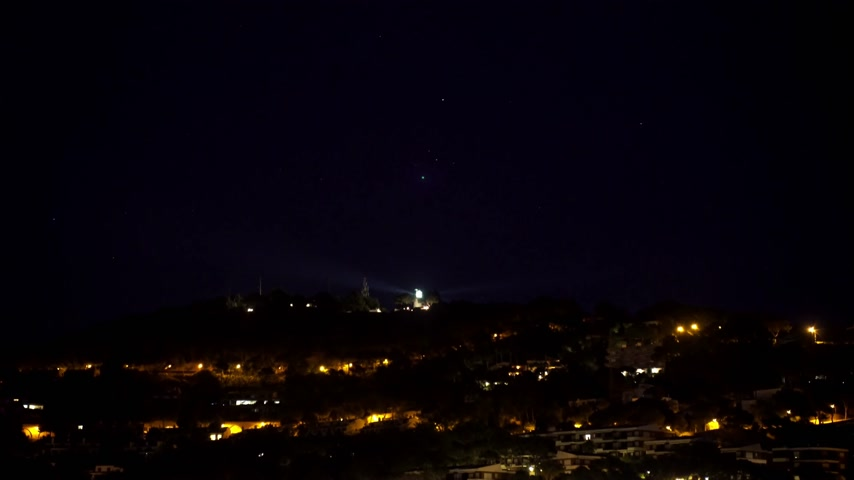 latarnia morska : Old lighthouse in the night. The light of a lighthouse on a hill above the lights of a small village. Night view of the lighthouse. A rotating ray of light in the night sky.