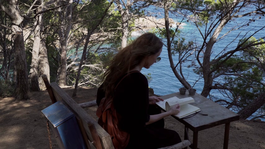 Girl with long hair in black dress reading book in the pine wood over the azure bay. Sunny day, blue sea and pine woods. Elegant young woman in black dress. Fashion and beauty. Reading on the bench. Wideo