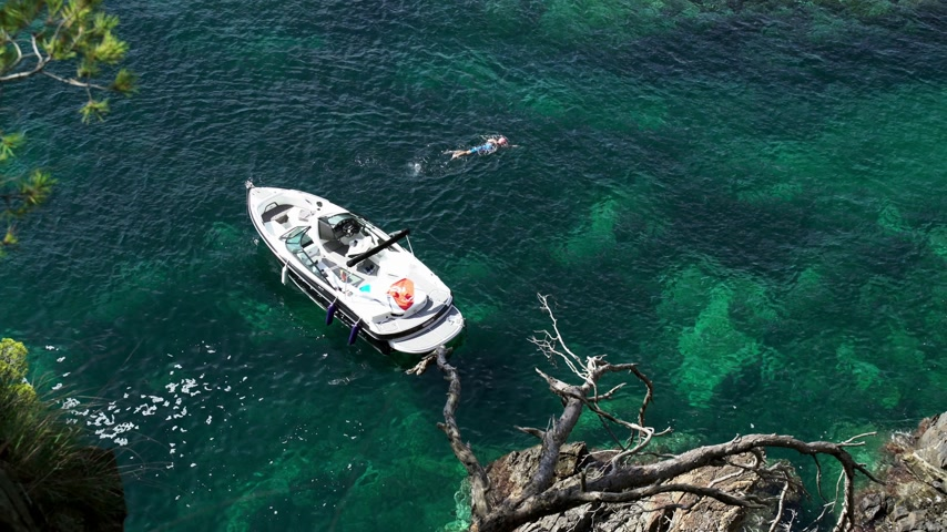 Top view of a small white boat in the azure bay among the pines. Lone swimmer in the clear blue sea. Pine trees growing on the rocks. A motor boat is anchored in a small bay. Filmati Stock