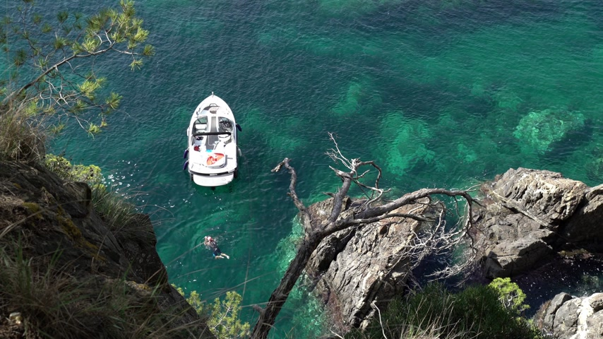 Top view of a small white boat in the azure bay among the pines. Lone swimmer in the clear blue sea. Pine trees growing on the rocks. A motor boat is anchored in a small bay. Wideo